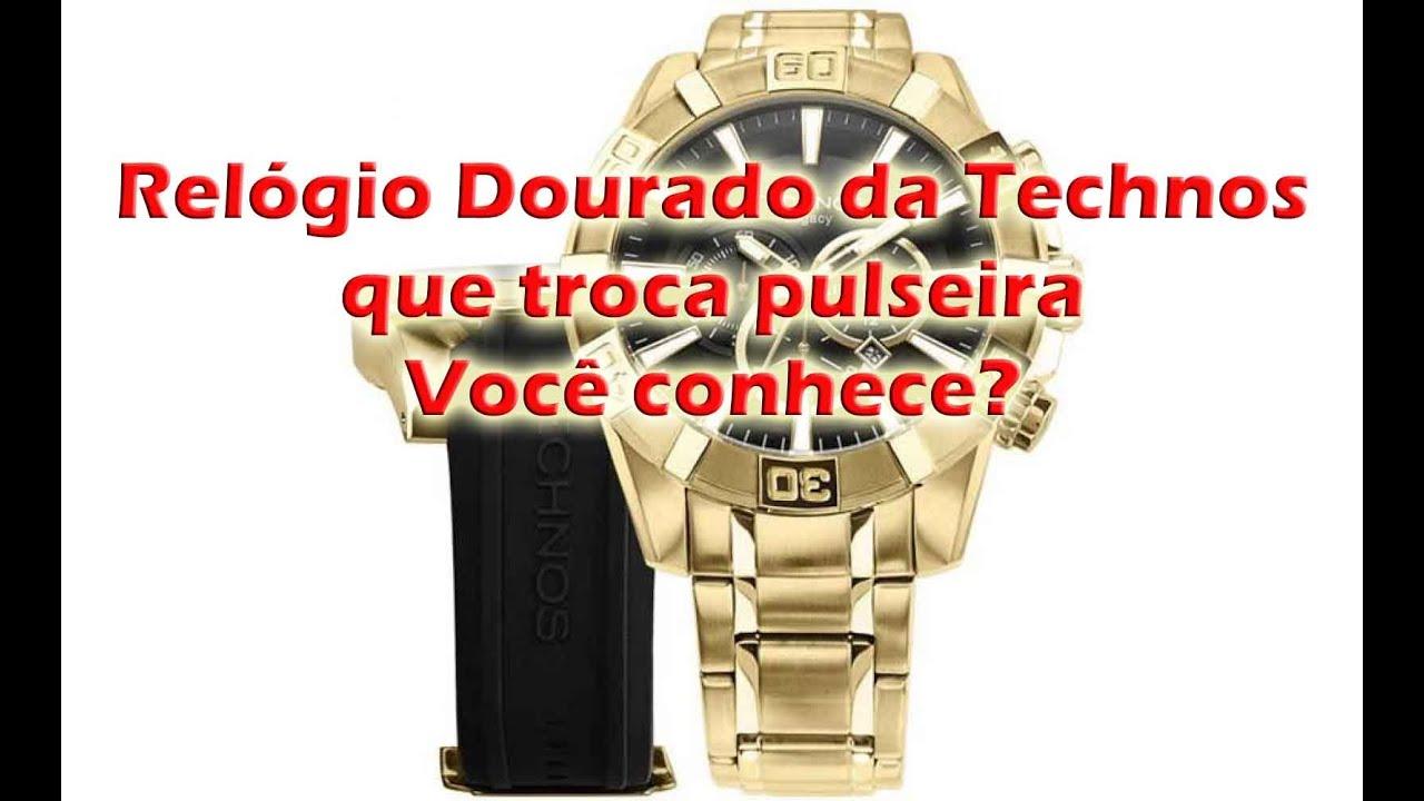b4b13ead67d Relógio Technos Cronografo todo dourado OS2AAJ 4P - YouTube