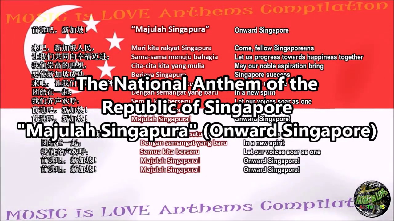Singapore national anthem lyrics in english