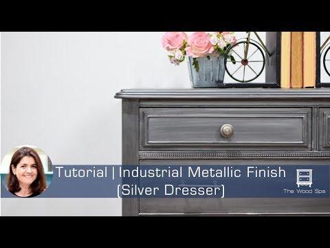 How To Make This Industrial Metallic Finish (Silver Dresser)   Speedy  Tutorial #20