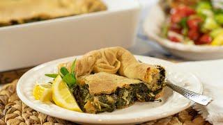 Spinach Pie (VEGAN) with Homemade Phyllo: Spanakopita Horiatiki