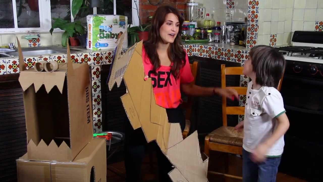 Disfraz de dinosaurio con cajas de carton youtube - Disfraz picapiedra casero ...