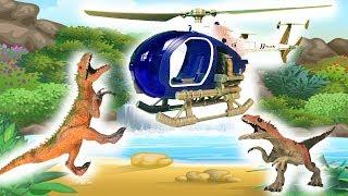 Битва динозавров - видео для детей - динозавры гиганты и полиция для детей