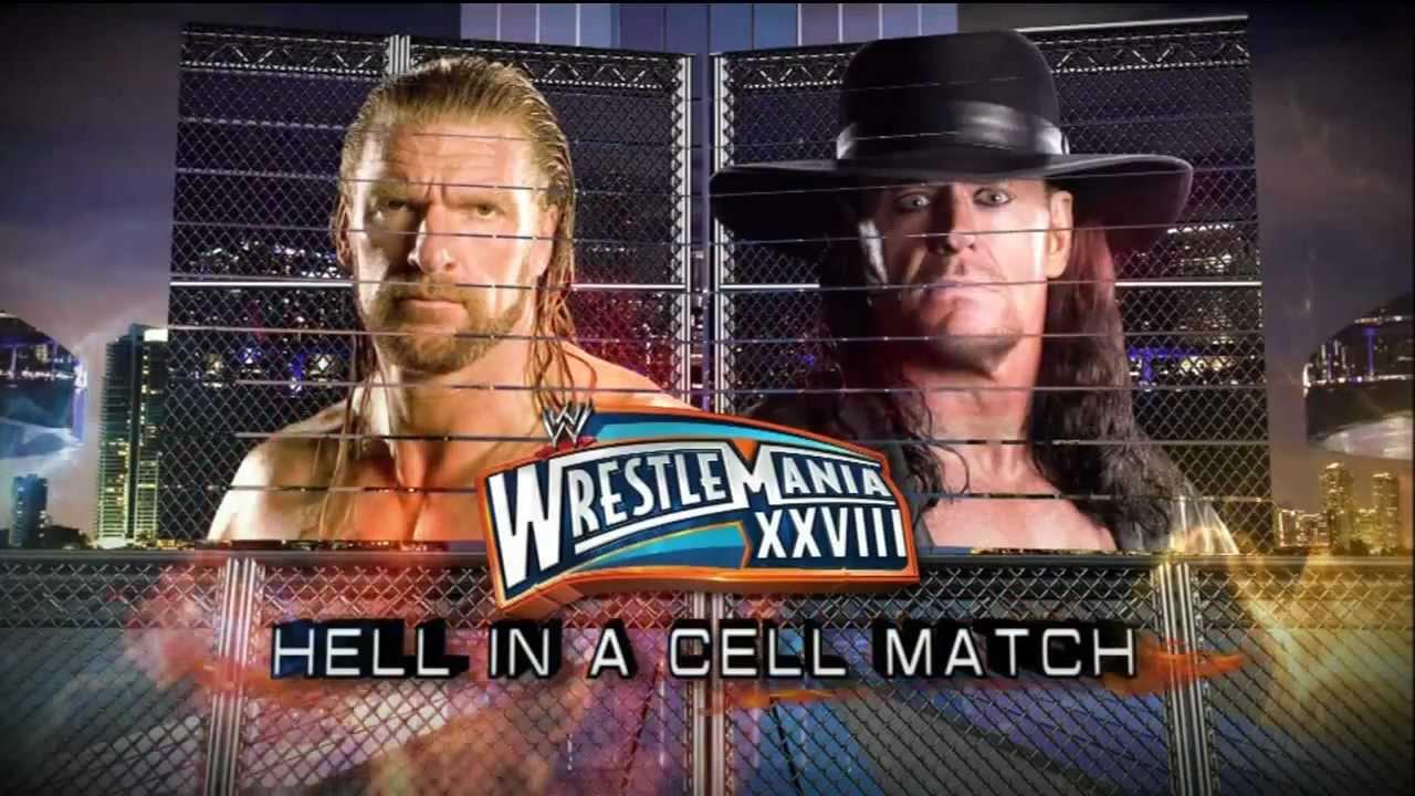 WWE Wrestlemania 28 Match Card - Undertaker vs Triple H (Hell in a ...