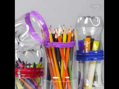 Cara Membuat Tempat Pensil dan Pena dari Botol Bekas Minuman - YouTube e74e473aa7