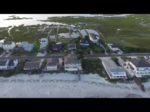 Drone tour Folly Beach (coastline and marsh) , DJI Phantom 3 Pro