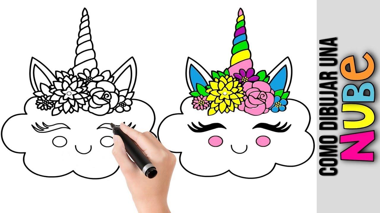 Como Dibujar Una Linda Nube Unicornio Kawaii Dibujos De Unicornios Unicornio Unicornios