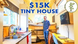 Young Man Builds Super Cheap Tiny House with Clever Elevator Bed