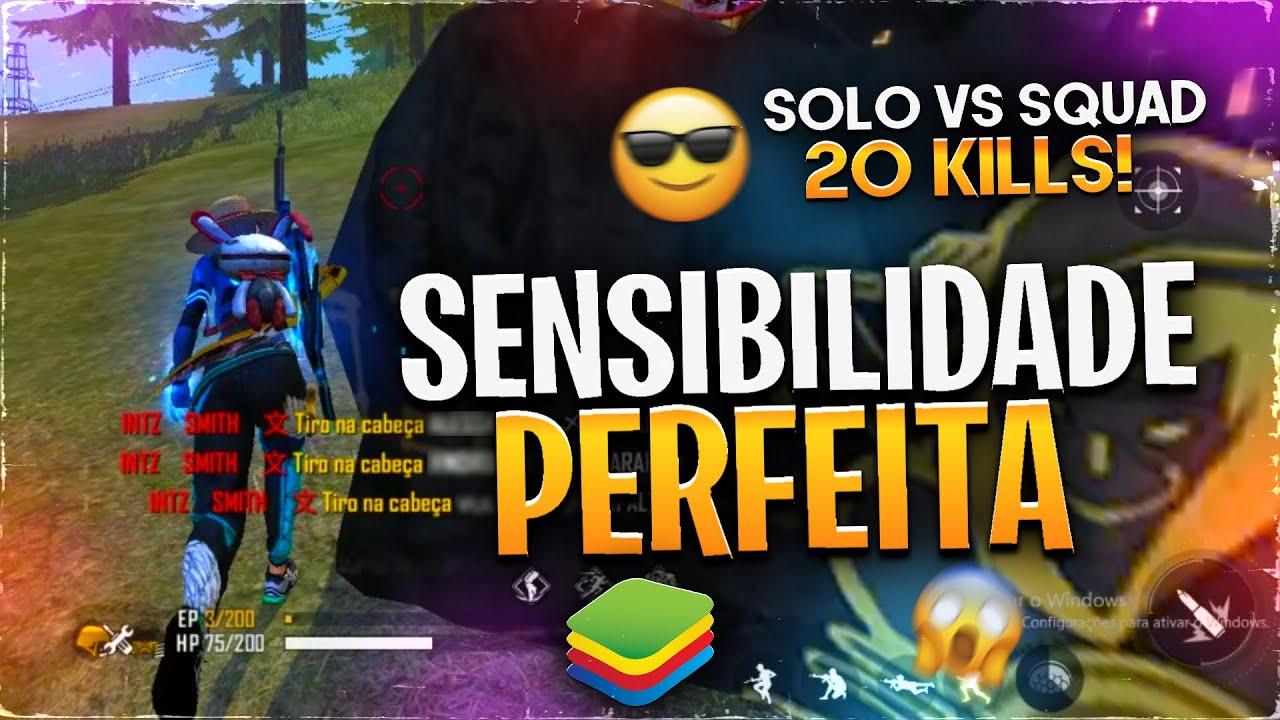 ACHEI A SENSIBILIDADE PERFEITA NO EMULADOR 🔥 - (SOLO VS SQUAD 20 KILLS)☠️ - SMITH FREE FIRE