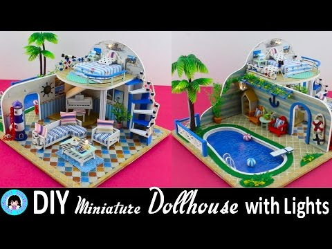 "🎉DIY Miniature Doll House with LED Lights -""Clear Summer Villas"" ミニチュアドールハウス 소형 인형의 집 ♥"