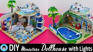 DIY Miniature Doll House~furniture, swimming pool,lights,palm trees~Clear Summer Villas~Very Pretty!