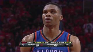 Houston Rockets vs OKC Thunder Final 2 minutes NBA Playoffs game 2 2017