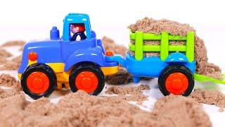 Tractor and Excavator Playing in Kinetic Sand | Yippee Toys