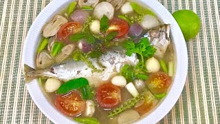เมนูไล่หวัด ซดโล่งคอ ต้มยำปลาทูสด Mackerel in Hot and Spicy Soup (clear throat & relieve colds)