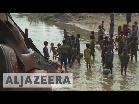 Rohingya refugees fleeing Myanmar to Bangladesh