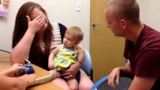 Cochlear implants- Genevieve hearing her parents for the first time 9-24-13