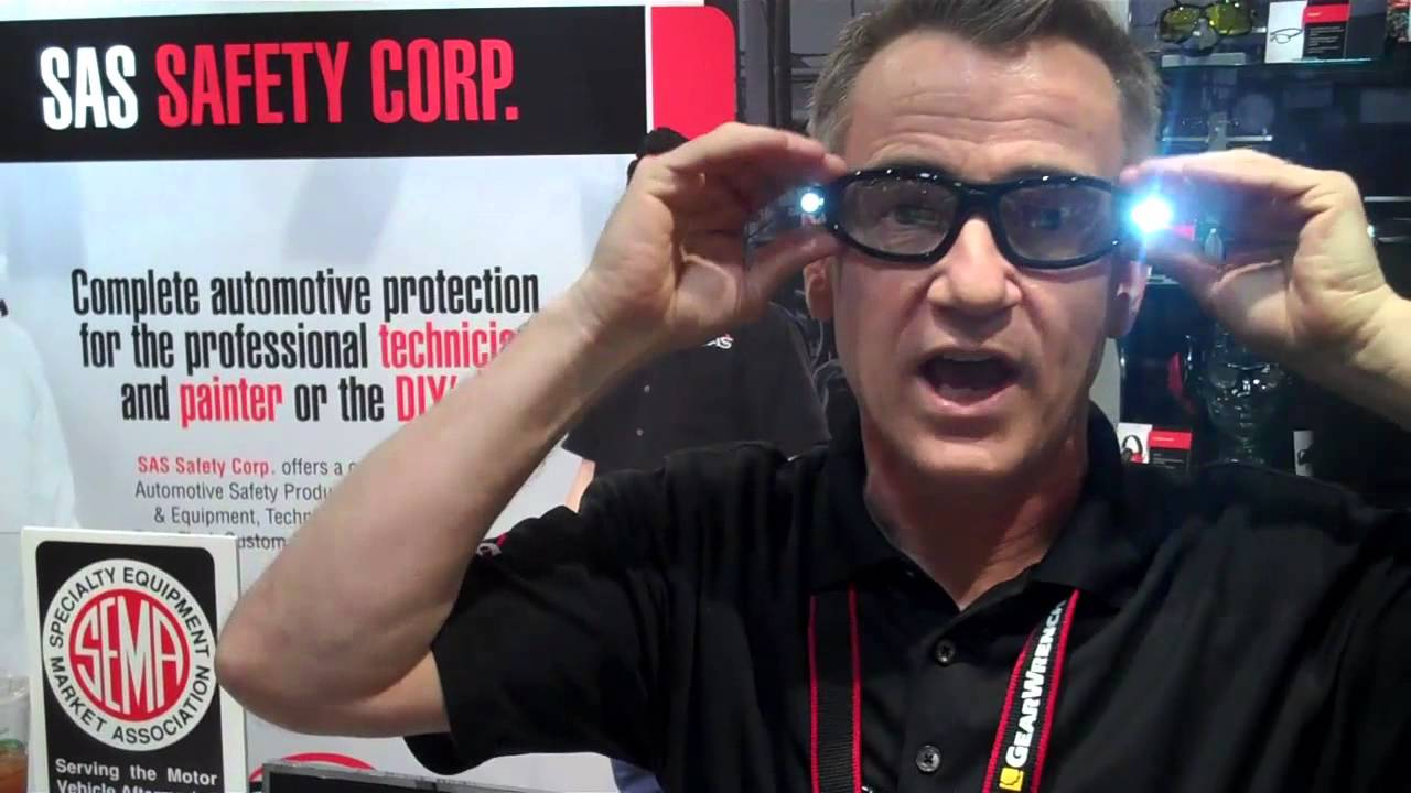 sema 2013: sas safety's led inspector safety glasses