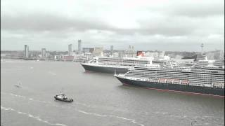 Timelapse Of Cunard's Three Queens Meeting On The Mersey