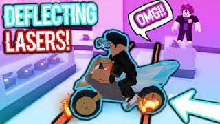DEFLECTING THE LASERS MIT einem MOTORRAD!!! (Roblox Jailbreak)