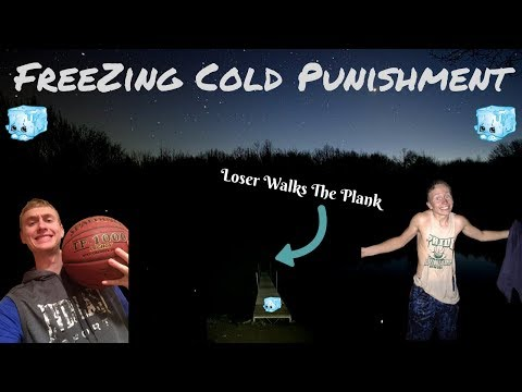 Basketball Challenge With Chilling Punishment - Loser Jumps Into The Freezing Cold Lake At Night!