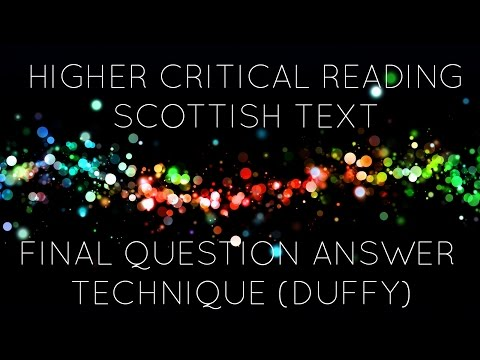 Scottish Text Final Question Answering Technique (Duffy)