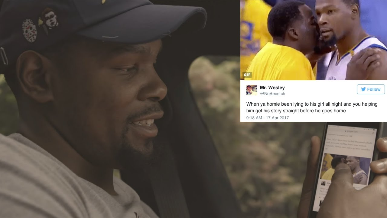Kevin durant reacts to twitter meme of him s pep talk