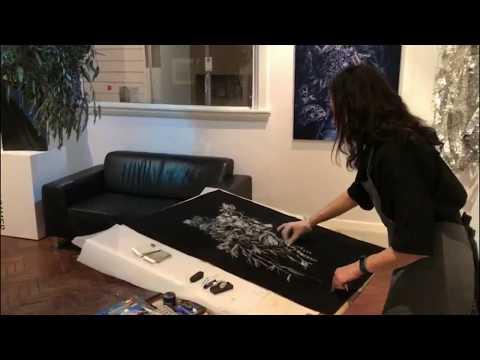 Gina Kalabishis drawing on site at Flinders Lane Gallery Nite Art 2017