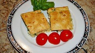 Быстрый заливной пирог с козьим сыром, яйцом и зеленым луком_Pie with goat cheese, eggs and scallion