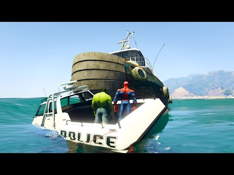 Thumbnail: VENOM Crushes POLICE SPIDERMAN and HULK on BIG BOAT! Cartoon for kids and children