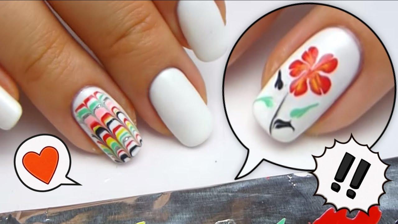 Черный мрамор гель-лаками / Black Marble nail art - YouTube