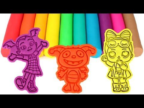 Learn Colors with Play Doh Molds Vampirina Henry Hugglemonster Om Nom Mickey Mouse LOL Doll PJ Masks
