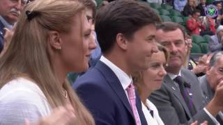 Royal Box guests introduced to the Saturday Centre Court crowd