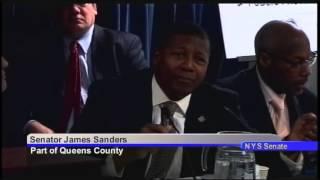 Senator Sanders addresses PBA President Pat Lynch