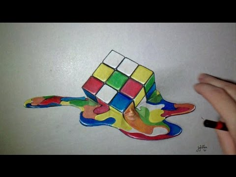 Dessin Realiste Rubik S Cube Fondu Youtube