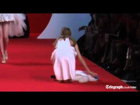 Catwalk fail: supermodels fall over at Naomi Campbell's fashion event in Cannes