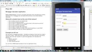 Android Programming Lecture V: calculate mortgage app demo