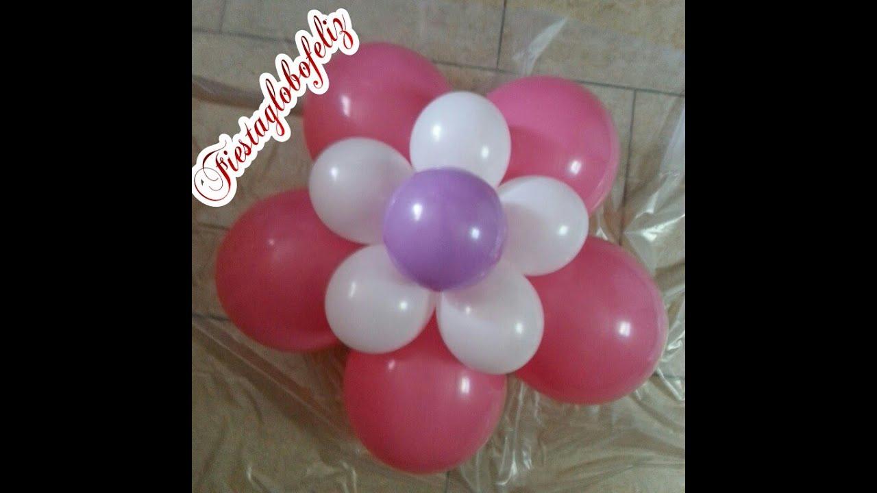 Como hacer una flor fantas a de tres colores con g youtube - Hacer munecos con globos ...