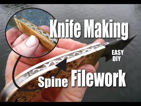DIY Easy knife Making Spine Filework