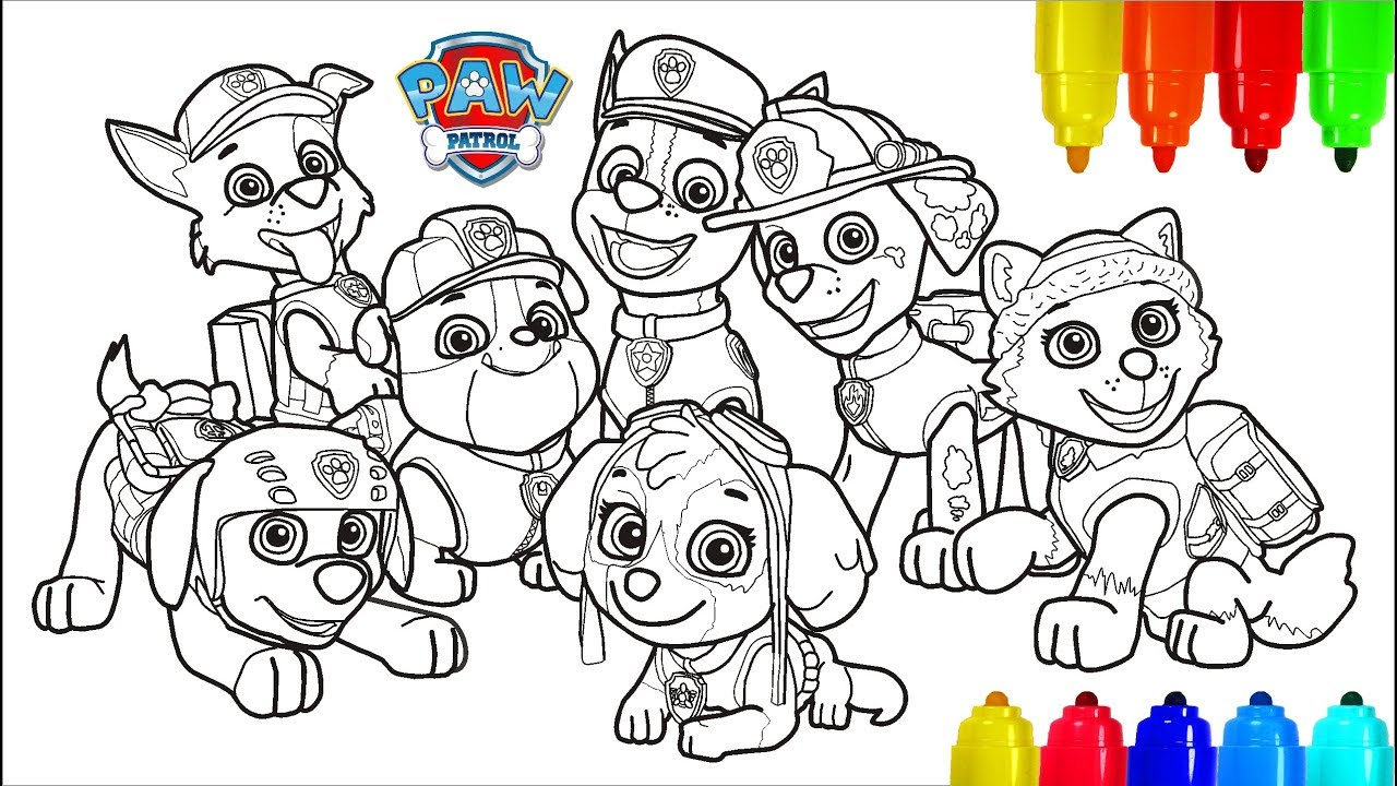 paw patrol # 4 coloring pages   colouring pages for kids with colored  markers