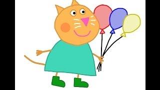 Candy Cat (Peppa Pig) How to draw a easy? Кот (Свинка Пеппа) Как нарисовать просто?