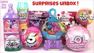 LOL Pikmi POPS 5 Surprise Girls Glam Glitter Vampirina Trolls Pod Pals Minnie Mouse Toys Unboxing
