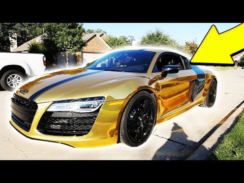 MY NEW GOLD CHROME SUPERCAR! (AUDI R8 REVEAL)