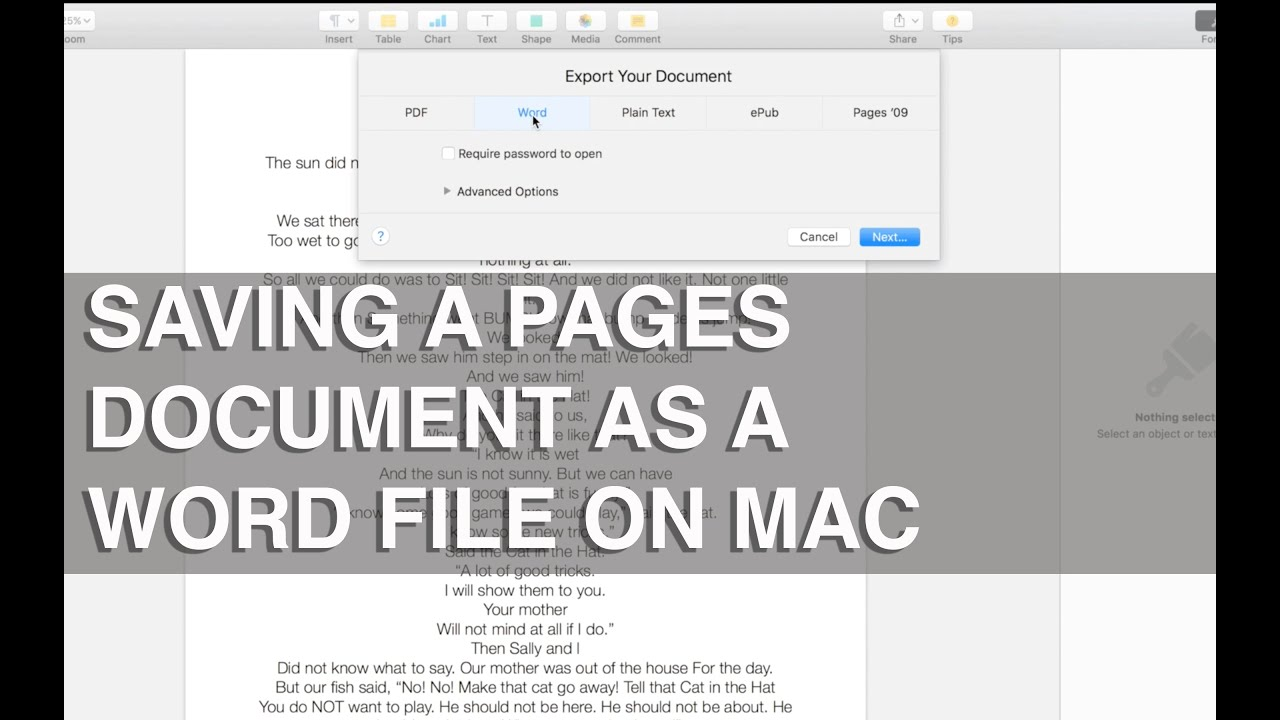 How to save a Pages document as a word file, windows compatible - Apple  Training