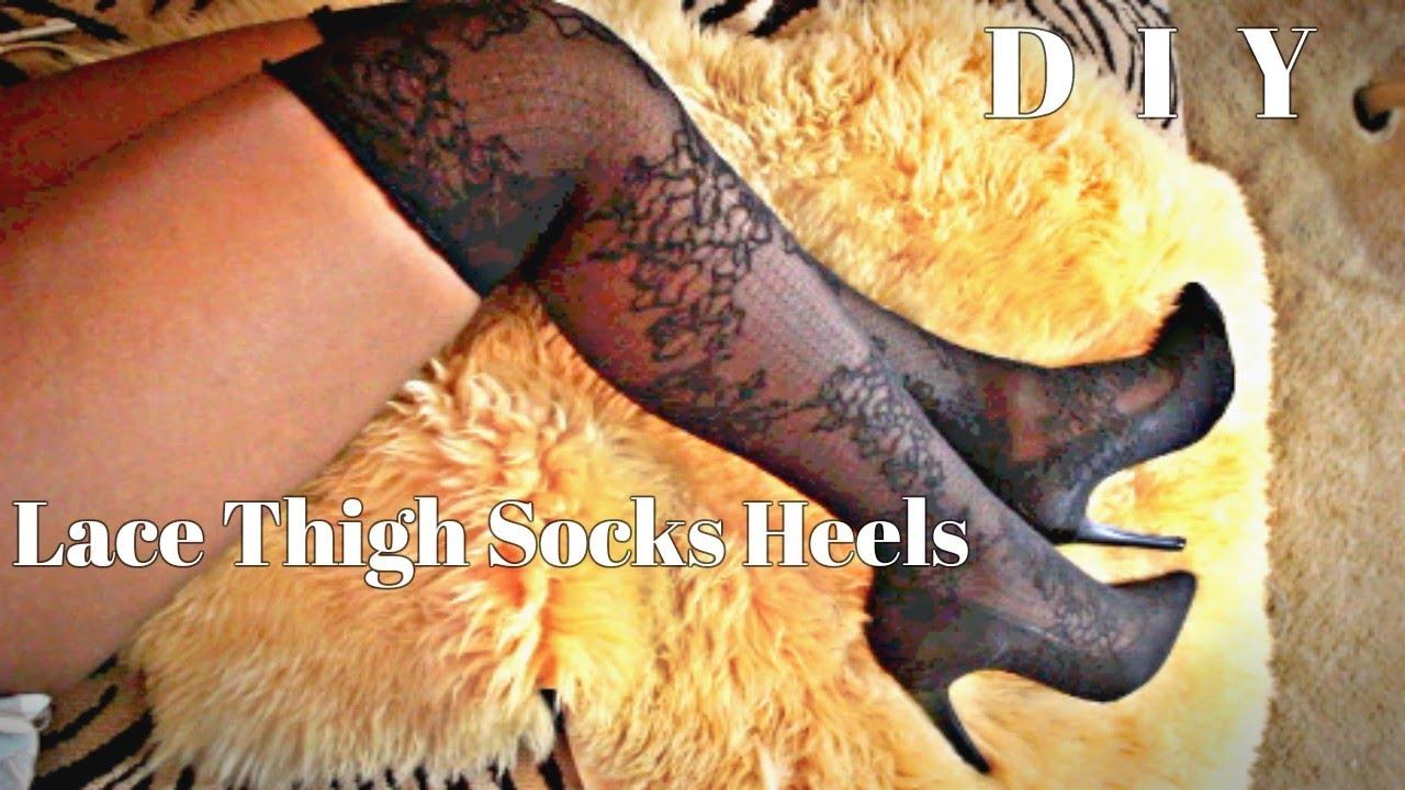 e54f0fff243e2 DIY Lace Thigh High Sock Boots - YouTube