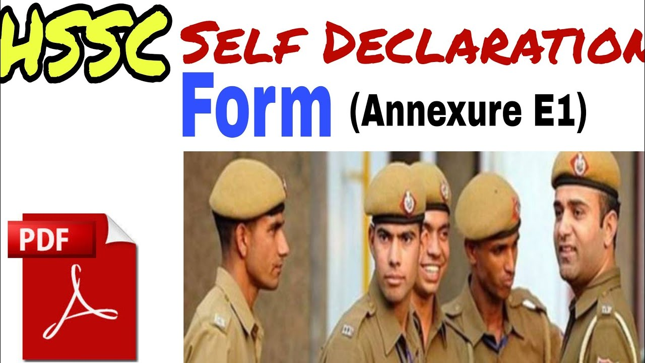 Haryana Police Constable Category 1/Advt 6/2019 form apply & self  declaration form for Police pdf