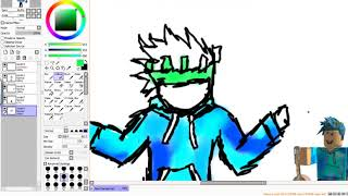DRAWING MY ROBLOX AVATAR!! SPEED ART   Drawing tablet testing