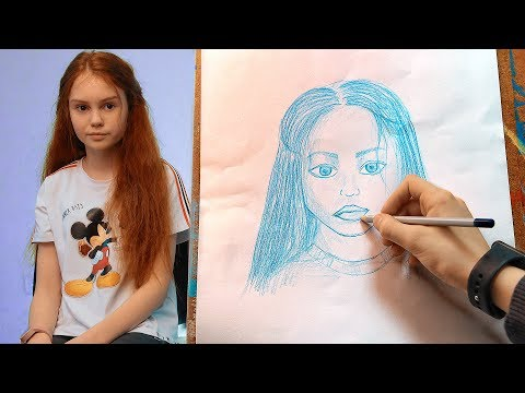 Кирилл НАРИСОВАЛ портрет МАШИ!!!