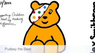 Watch how to draw pudsey bear lessons and draw by yourself