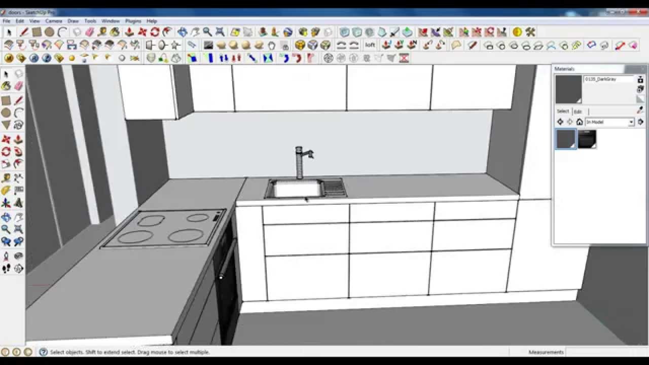 Google sketchup tutorial part 03 kitchen modeling sink for Cuisine 3d sketchup