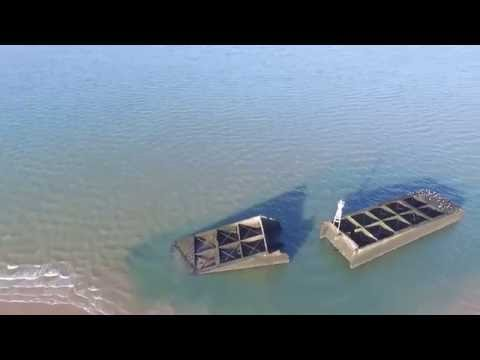 DRONE MULBERRY HARBOUR THAMES ESTUARY SOUTHEND ON SEA ESSEX