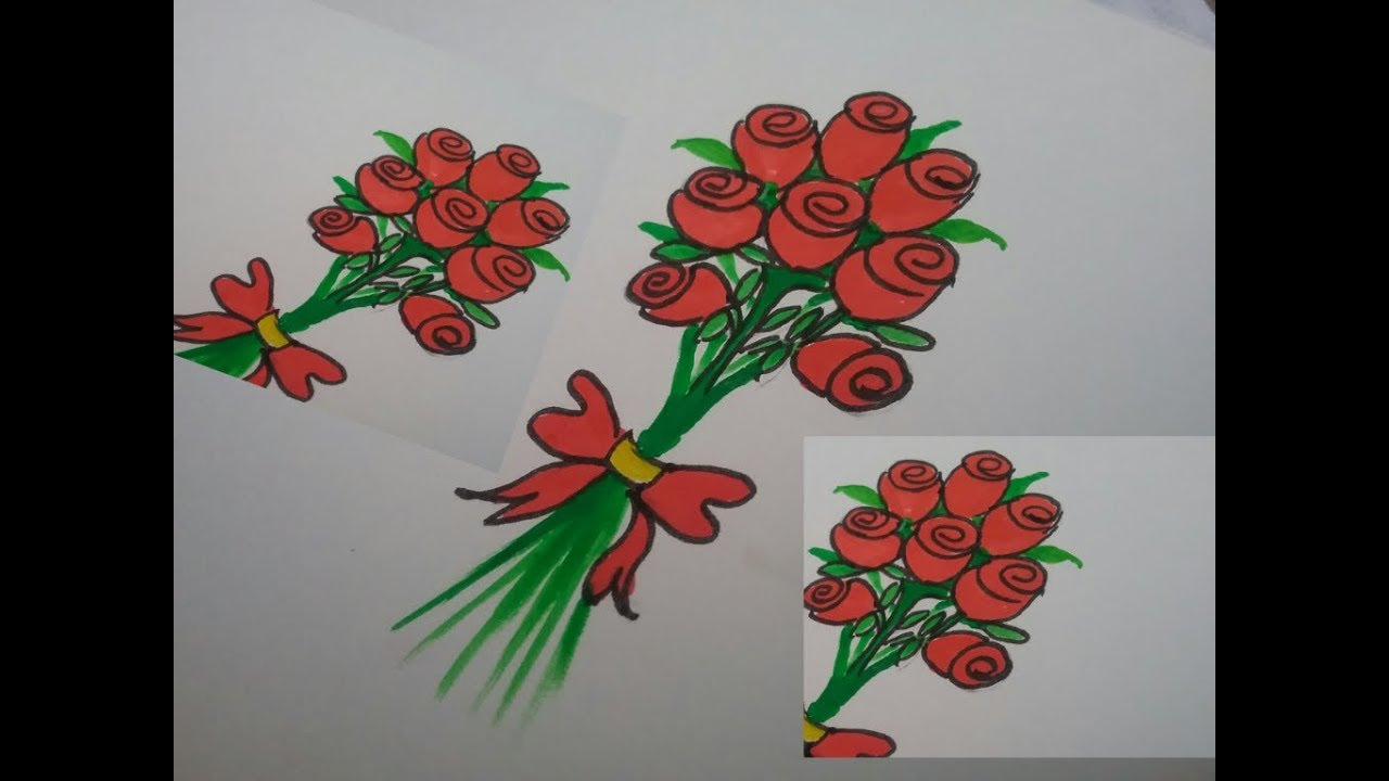 Bouquet Drawing For Mother S Day How To Draw Bunch Of Roses Easy